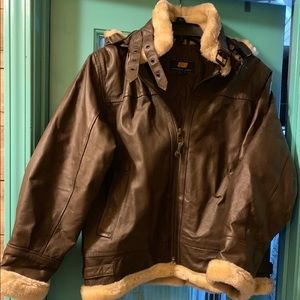 Boys leather jacket with faux shearling